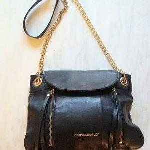 Cynthia Crowley Black Leather Crossbody Handbag